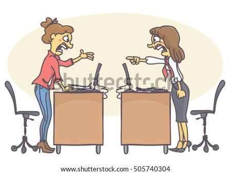 two woman coworkers arguing in