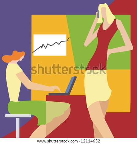 Two women at the office with laptop and mobile.