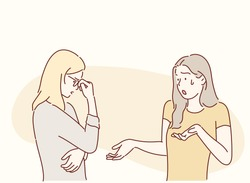 Two women friends arguing. Hand drawn style vector design illustrations.