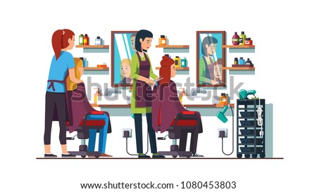 Two women hairdresser work making female clients haircut or hairstyle in beauty hairdressing salon. Interior design with chairs, mirrors and shelves. Decoration and furniture. Flat vector illustration