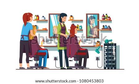two women hairdresser work