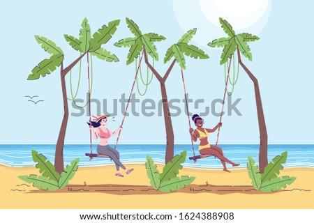 two women on swings flat doodle