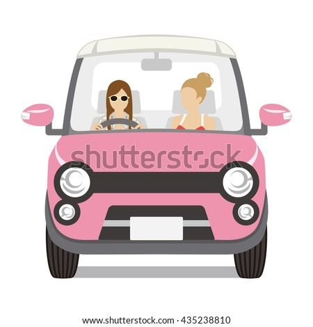 two women riding the pink car