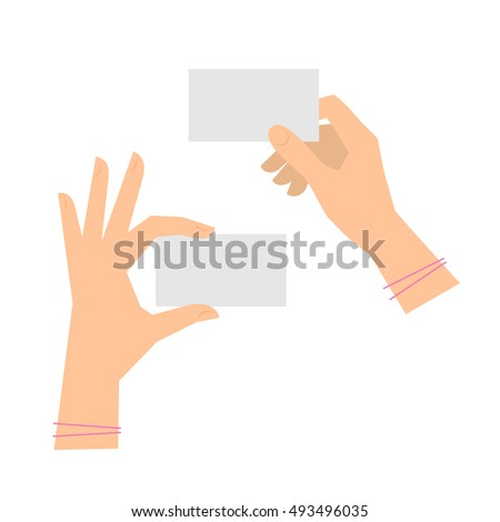 Two women's hands are holding business cards. Template flat illustration of businesswoman's hands and blank cards. Vector isolated on white background design elements for infographics, presentations.