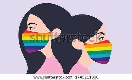 Two women wearing rainbow face mask to protect covid-19 coronavirus outbreak vector illustration. LGBT transgender symbol concept background