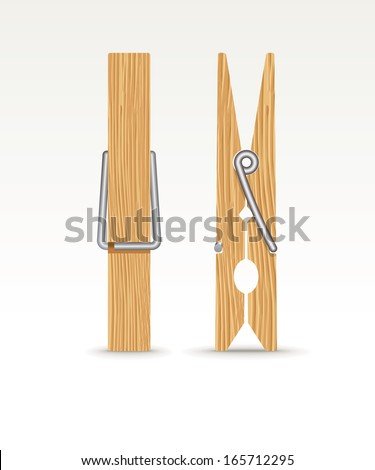 Two wooden cloth clips - vector illustration ストックフォト ©