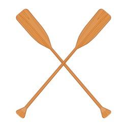 Two wooden crossed oars vector isolated. Rowing oars. Boat oar. Water sport