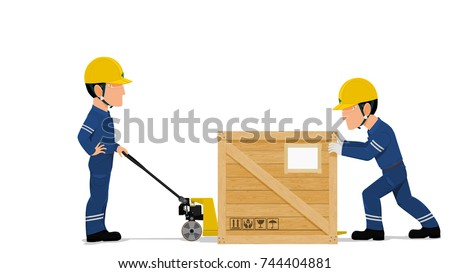 two workers are loading a