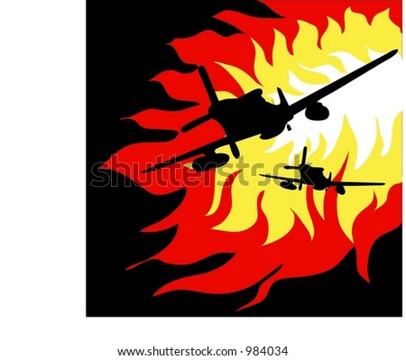 Two world war 2 fighter planes fly through the flames - stock vector