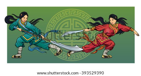 two wushu girls fighting