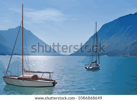 two yachts on lake summer