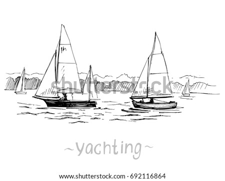 Two yachts on the river. Hand drawn outline illustration converted to vector.
