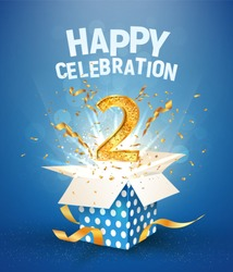 Two years anniversary and open gift box with explosions confetti. Template 2nd birthday celebration on blue background vector Illustration