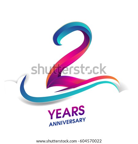 two years anniversary celebration logotype blue and red colored. 2nd birthday logo on white background.