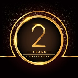 two years birthday celebration logotype. 2nd anniversary logo with confetti and golden ring isolated on black background, vector design for greeting card and invitation card.