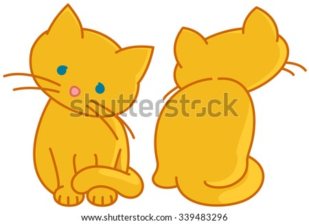 two yellow cute kittens vector