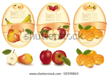 Two yellow labels with different sorts of fruit. Vector.