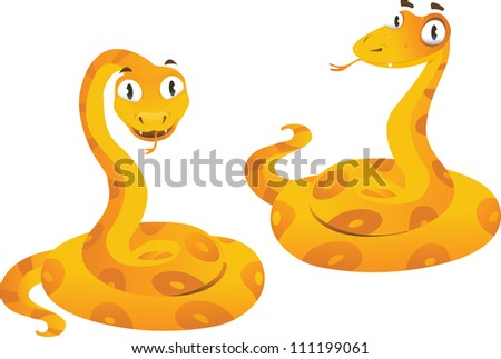 Two yellow snakes on the white background
