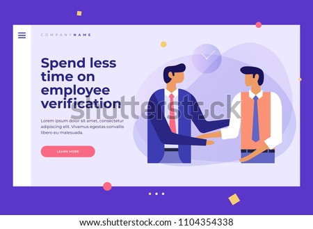 Two young businessmen talking to each other and shaking hands. Search and selection of employees. Design template for Landing Page. Header for website. Colorful flat vector illustration.