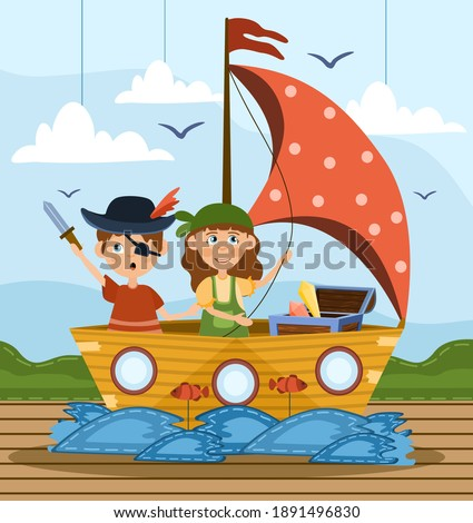 Two young children playing at being pirates wearing fancy dress and standing in a wooden boat with sail on a stage, colored cartoon vector illustration Photo stock ©