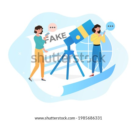 Two young female characters are suffering from fake news on media. Concept of misleading information. People share fake news on social media and internet. Flat cartoon vector illustration Photo stock ©