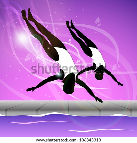 Two young girls doing wonderful synchronized swimming in pool with abstract shiny design in water background,EPS 10.