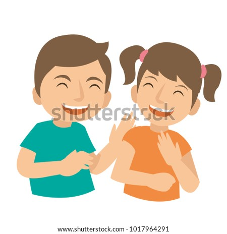 Two young kids Laugh and happy