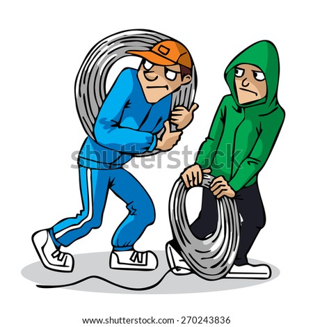 Two young men with a coil of wire. Two guys are stealing. Thives. Vector. Сток-фото ©