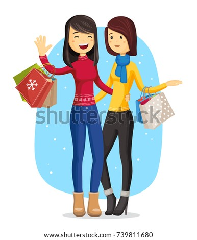 two young smiling woman in