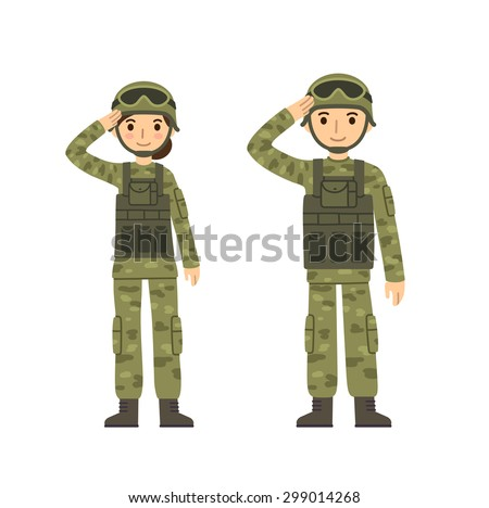 two young soldiers  man and