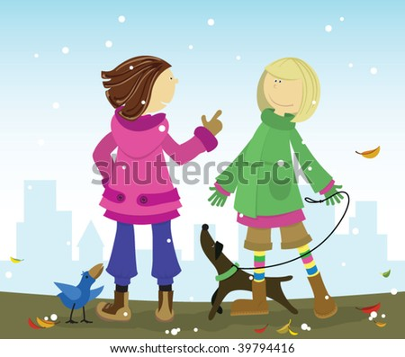 Two young stylish school girls chatting and enjoing walk with their pets. One friend, emotionally talking with another.
