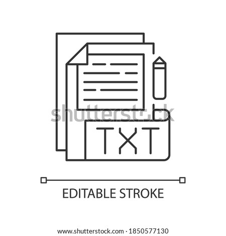 TXT file pixel perfect linear icon. File extension. Simple text editors. Information storing. Thin line customizable illustration. Contour symbol. Vector isolated outline drawing. Editable stroke