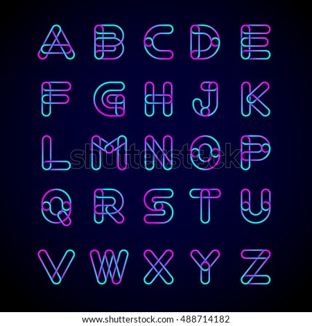 Type letters set logo Design.Linked shape circle symbol,Digital,pink blue