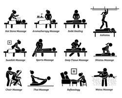 Type of massages and therapies. Artworks depict hot stone massage, aromatherapy, Reiki healing, ashiatsu, Swedish, sport massage, deep tissue, Shiatsu, chair, Thai massage,foot reflexology, and Watsu.