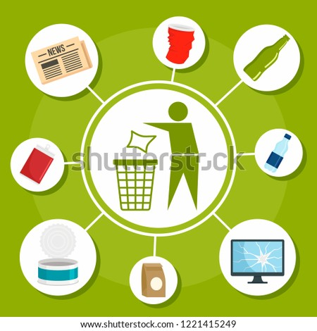 Type of recycle object concept background. Flat illustration of type of recycle object vector concept background for web design