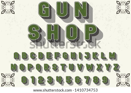 Typeface alphabet Font Script handcrafted handwritten vector label design old style.Shadow Effect.vintage Hand Drawn.Retro Typography.Vector Illustration.gun shop Stockfoto ©
