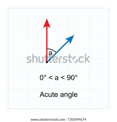 Types of Angles.  on blue graph background vector illustration
