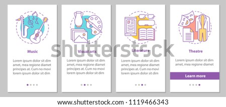 Types of art onboarding mobile app page screen with linear concepts. Music, visual arts, theater, literature steps graphic instructions. UX, UI, GUI vector template with illustrations