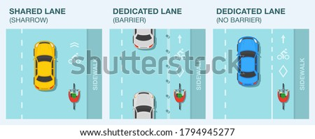 Types of bike or bicycle lanes. Dedicated and shared lane. Traffic or road rules. Top view of a sedan car and cyclist on a bicycle. Flat vector illustration template.