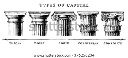 types of capital.  vector hand...