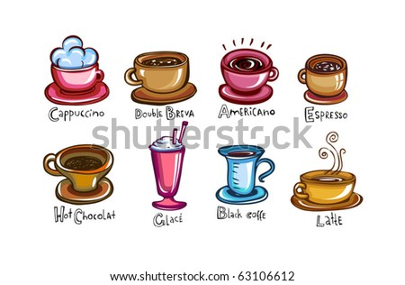 Types of coffee, set of 8 Cups of coffee