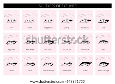 types of eyeliner vector