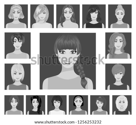 Types of female hairstyles flat icons in set collection for design. Appearance of a woman vector symbol stock web illustration. #1256253232