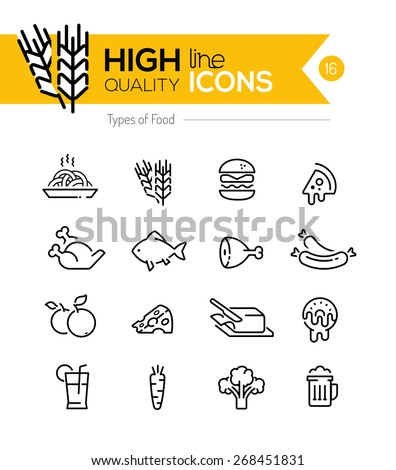 Types of Food line Icons including: meat, grain, dairy etc..