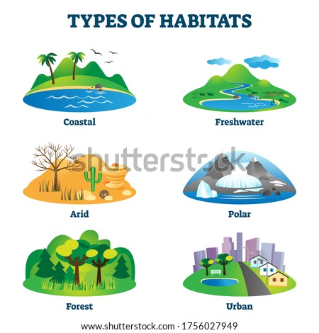 Types of habitats vector illustration. Labeled various species home examples set. Educational collection with coastal, freshwater, arid, polar, forest and urban environments for natural animal life.