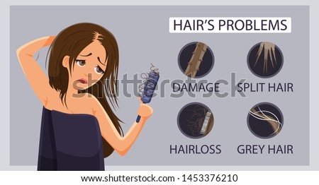 Types of hair problem, alopecia, damage, gray hair