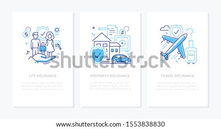 Types of insurance - line design style banners set. Thin linear illustrations with place for your text. Life, property, travel protection ideas. Images of family, house, plane. Health, safe flight