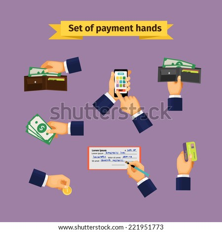 Types of payments. Hands with cash money, credit cards, coins and mobile payments