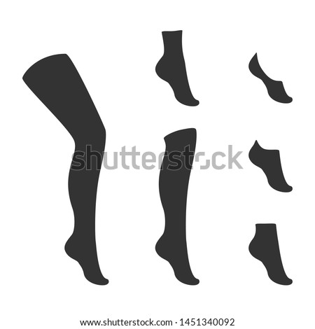 Types of socks collection. Invisible, extra low cut, low cut, quarter, mild calf, knee high, over knee and   thig high socks.