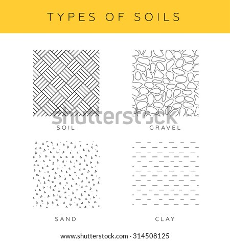 types of soils  vector set